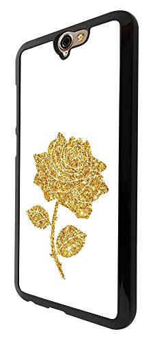 002877 - Girly Sparkle Effect Gold Floral Roses Love Design htc One A9 Hülle Fashion Trend Case Back Cover Metall und Kunststoff - Schwarz