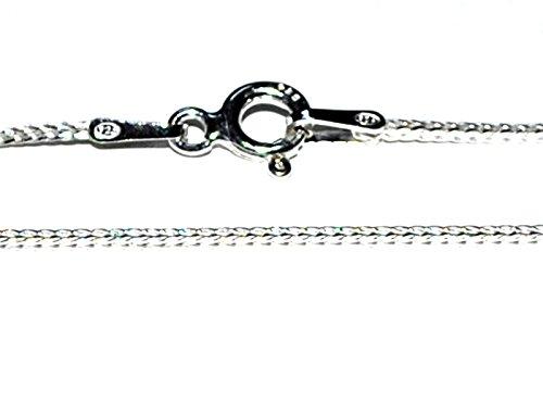 Echtes massives 925Sterling Silber Fuchsschwanz Kette Halskette–1mm Sprache–40,6cm