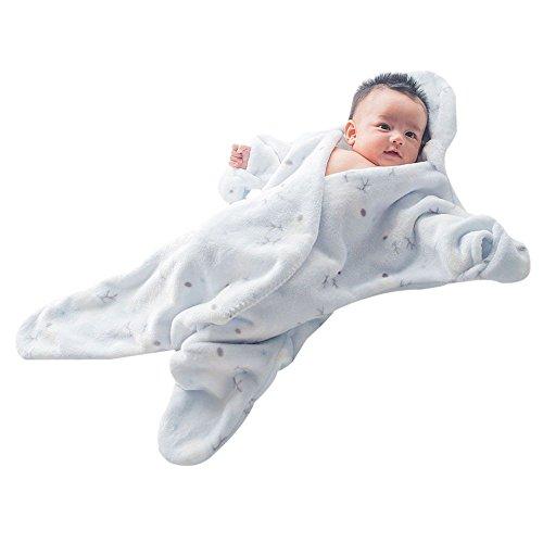 GreForest-Carino Starfish infantile sacco a pelo flanella bambino Swaddle infante appena nato SleepSack Wearable Swaddle Coperta anti-calci Quilt (Blu)
