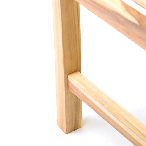 DIVERO 3-Sitzer Bank Holzbank Gartenbank Sitzbank 180 cm – zertifiziertes Teak-Holz Natur unbehandelt hochwertig massiv – reine Handarbeit – wetterfest (Teak natur) - 5