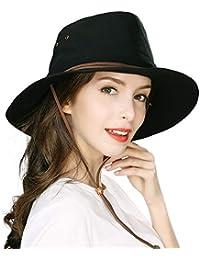 514ee18bac1 UPF 50 Cotton Safari Sun Hat Foldable Wide Brim Summer UV Protection Beach  Hat Chin Cord