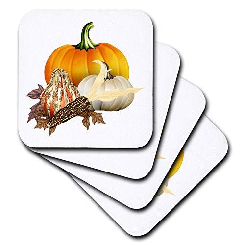 3dRose CST 11640_ 3Colorful Kürbisse, mais und Autumn Leaves to Celebrate The Fall Harvest Keramik Tile Untersetzer, 4Stück Cst Fall