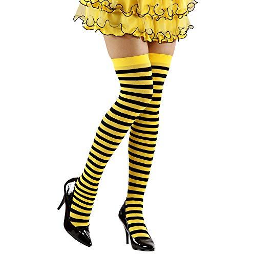 Widmann 2074B Überkniestrümpfe Biene, Mehrfarbig, M (Spanische Lady Halloween-kostüm)