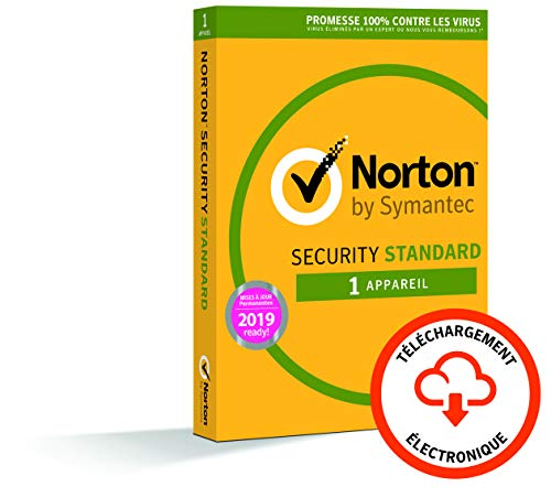 Norton Antivirus Basic 2019 | 1 appareil | 1 an | PC/Windows XP et Versions Supérieures | Téléchargement [Code Jeu ]