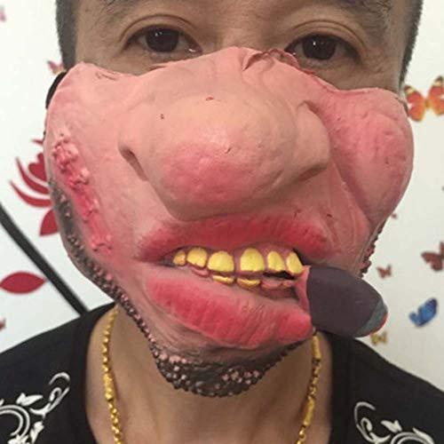 OOCO Lustige Halbes Gesicht Kuss Große Lippen Latex Maske 3D Schädel Gesichtsschutz Sonnenmaske Halloween Tier Masken Kostüm Maskerade,A