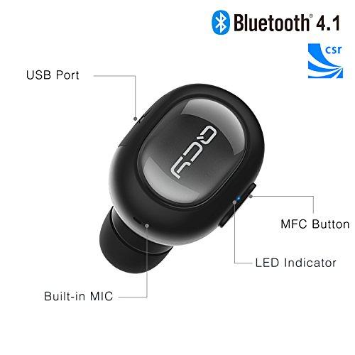 Mini Auriculares Manos Libres Bluetooth 4.1,QCY Auricular inalámbrico Deportivo Invisible Sin Hilos Con Micrófono Para iPhone iPad Android Smart Phone Windows Phone