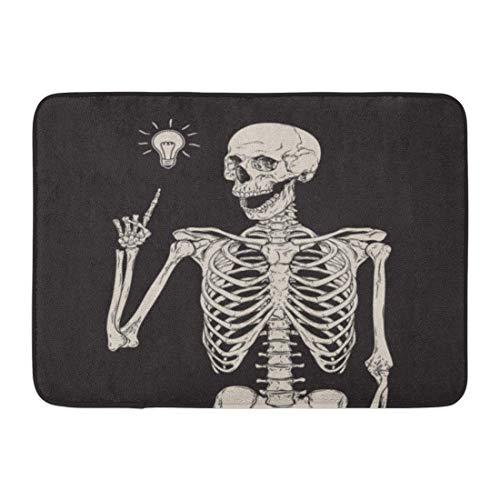 LIS HOME Fußmatten Bad Teppiche Outdoor/Indoor Fußmatte Halloween menschliches Skelett hat Idee über Zombie Schädel Vintage Radierung Badezimmer Dekor Teppich Badematte
