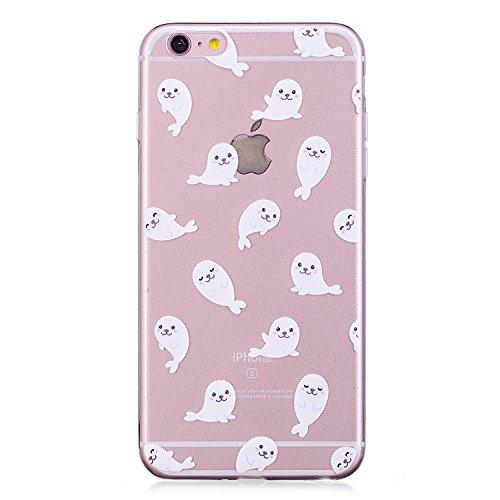Meet de iPhone 6 Plus / 6s Plus Coque Antidérapant Transparent TPU Silicone Gel Housse Étui Protecteur Cover Case Souple Ultra Mince pour iPhone 6 Plus / 6s Plus-Candy amour Petite baleine