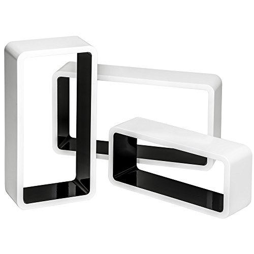 tectake 800704 3 Etagères murales Cube rectangulaire Design en Bois, pour des Livres, CDs et de la décoration, Matériel de Montage Inclus - Plusieurs Couleurs - (Blanc-Noir | no. 403183)
