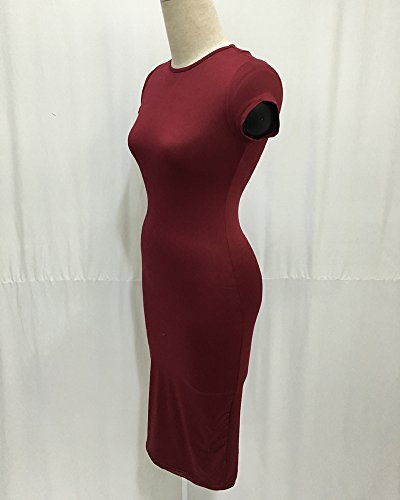 Moollyfox Femmes Pure Color Hip Emballage Robes Halter Vin Rouge