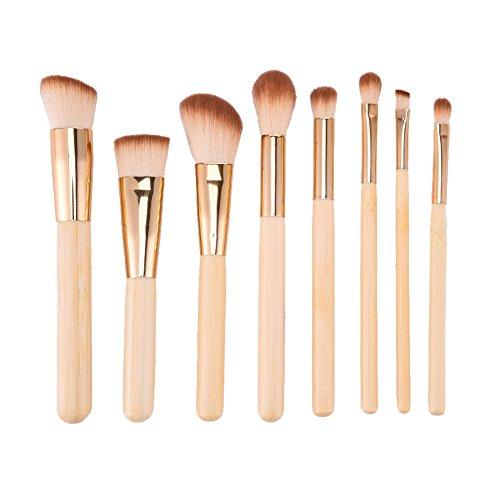 Molie Kit de Pinceaux Maquillage 8PCS/ Set Brosse Yeux Coméstiaue Pinceau Fond de Teint Poudre Blush Fard à Paupière