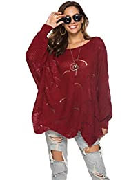 c39801b4b7b4fc Fuerbvbc Women Casual Hollow Out Long Sleeve Crew Neck Solid Loose Knitted  Tops Oversize Fashion T