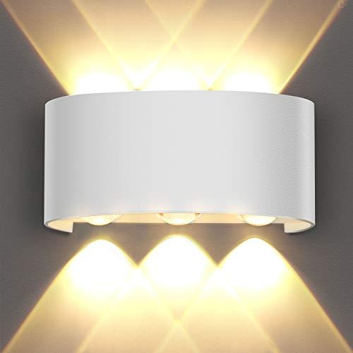 OUSFOT Aplique Pared Interior Lámpara de Pared IP54 Impermeable, Blanco Cálido 6000K Ideal para Salón...