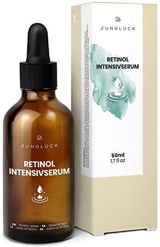Junglück veganes Retinol Intensivserum in Braunglas - Anti-Aging und Feuchtigkeitspflege für Gesicht & Haut dank Vitamin A Serum und Bio...