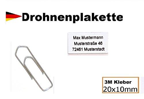 Micro Drohnenkennzeichen weiß für DJI Phantom - 20x10mm mit hochwertiger Lasergravur inkl. stark haftendem Klebestreifen Drohnen-kennzeichen Adressschild Modellflug Kennzeichen Kennzeichnungspflicht