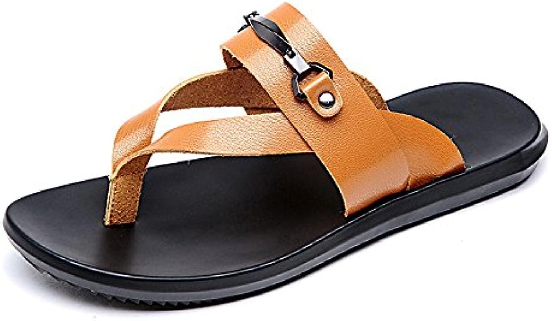 Ruiyue Thong Flip Flops Schuhe  Casual Echtem Leder Strand Hausschuhe Rutschfeste Weiche Schwarz Orange FarbeRuiyue Hausschuhe Rutschfeste Schwarz Sandalen