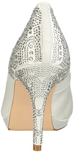Menbur Wedding Zulema, Chaussures à talons - Avant du pieds couvert femme Blanc - Elfenbein (Ivory)