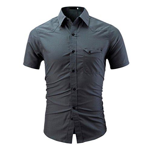 VEMOW Sommer Männer Hemd Mode Täglichen Arbeit Business Einfarbig Männlichen Casual Kurzarm Shirt Pullover Pulli(Grau, EU-60/CN-4XL)