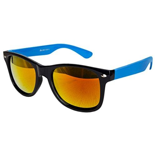 Ciffre Nerdbrille Sonnenbrille Stil Brille Pilotenbrille Vintage Look Türkis Blau Feuer Verspiegel