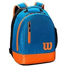 Wilson Backpack, Zaino da Tennis Unisex-Youth, Black/Orange, Taglia unica