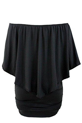EOZY Robe Femme Moulant Décolleté Soirée Grand Taille Volant Noir