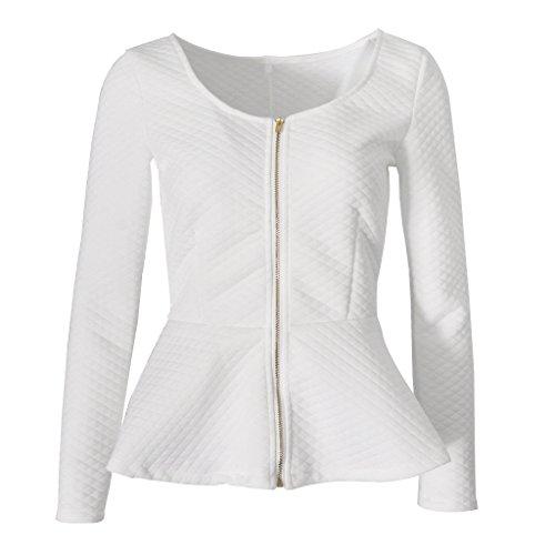 Prettyia Donna Moda Cappotto Giacca Camicia Abbigliamento Vestiti Top bianca