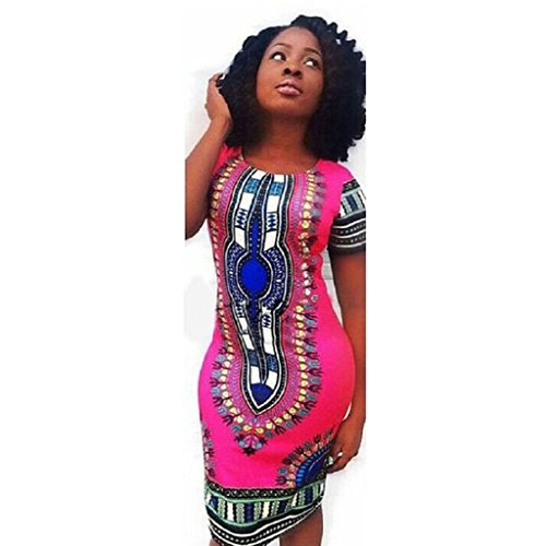 Tonsee Robe de taille Plus Bodycon femmes Dashiki impression africaine traditionnelle Rose vif