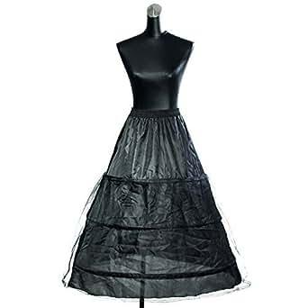 HIMRY Design Jupon de Mariée en Crinoline Jupon, 3 Cerceau, Taille Unique, Adéquat pour Taille 34 - 40, Noir, KXB0005 Black