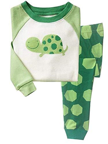 Little Hand Jungen Zweiteiliger Schlafanzug Baumwolle Lange Nachtwäsche Tier Schildkröte Kinder Pyjama (01-Grün, 92)