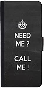 Snoogg Need Me Call Me Graphic Snap On Hard Back Leather + Pc Flip Cover Sams...