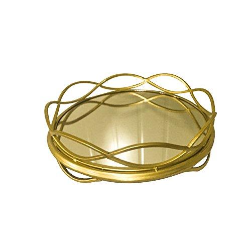 Plateau de présentation en métal doré en Ardoise et Rose, diamètre 39,5 cm x Profondeur 6,5 cm