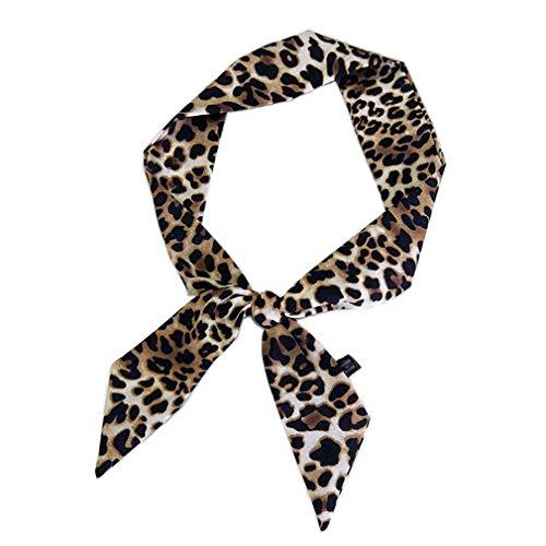 Piel de leopardo pequeño pañuelo de seda atado Mujer Bolsas Bolsa de pelo de la cabeza de la mano multifunción cinta pañuelos para las mujeres (amarillo)
