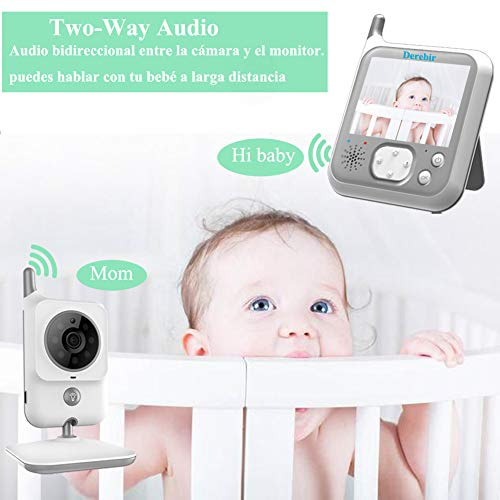 Vigilabebés Inalambrico Bebé Monitor Inteligente con Cámara Audio Pantalla LCD de 3.2 /Monitoreo deTemperatura VOX Auto Wake- up luz nocturn Visión Nocturna Intercomunicador Canción de Cuna