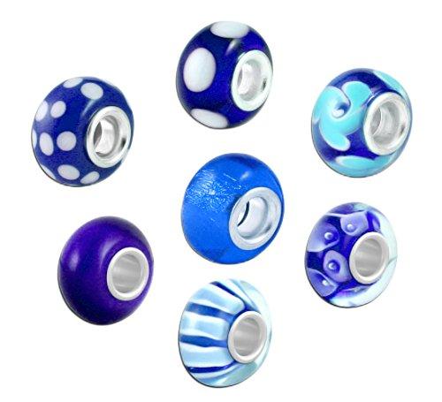 Preisvergleich Produktbild Akki Murano Glasperlen chrams Glas Beads in verschidenen Farben Türkis Blau grün Rot Lila Rosa Pink Bead Element Solid aus Muranoglas auch passend kompatibel mit Pandora, Kette und Armbänder - kult Bead 7stück Set beads Schmuck SET Blau
