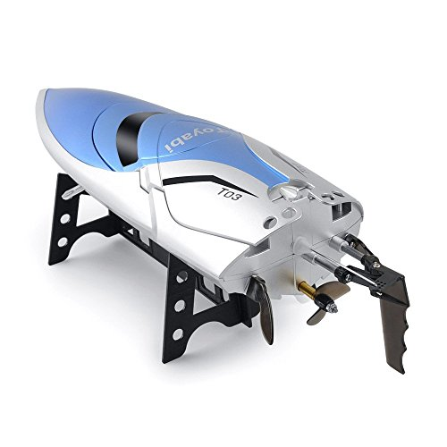 RC Boot High Speed Boot 2,4 GHz 20MPH mit Kapsel Standard Funktion Fernbedienung Spielzeug für Jungen mit Extra Batterie (Blau Weiss) - 5