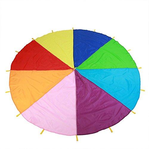 Zerodis Fallschirm Spielzeug Spielen Regenbogen-Fallschirm mit Griffen Kinder Zelt kooperative Spiele Geburtstagsgeschenk für Kinder Jungen Mädchen(4M)