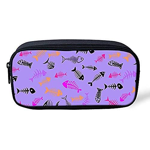 SFAOBTB Kinder Schultasche, Mädchen, Jungen Tasche Federmäppchen Schule Büro Frauen Kosmetik Make-up Tasche Portable Kinder Geschenke Mops Hund@Fisch Lila -
