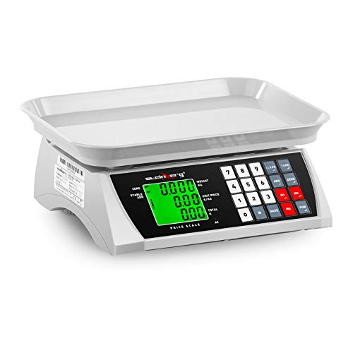 Steinberg Systems Preisrechenwaage Marktwaage Verkaufswaage Preiswaage Digitale Tischwaage SBS-PW-301CA (30 kg / 1 g, LCD-Display, 6 Funktionen, 28,8 x 21,8 cm)