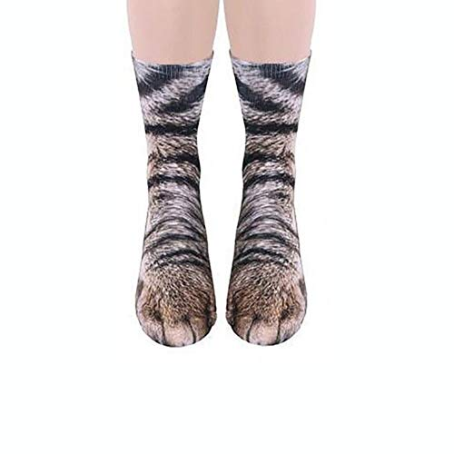 Fliyeong Entzückende Cartoon Baumwollsocke Simulation Kitty Paw Muster Socken 3D Druck Cartoon Katze Socken für Unisex Erwachsener Gebrauch 1 Paar