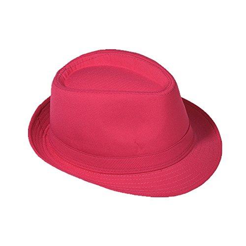 (Strohhut Panama Fedora Trilby Gangster Hut Sonnenhut mit Stoffband Farbe:-Pink Gr:-58)