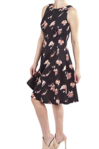 Joseph Ribkoff Sleeveless Black Floral Fit & Flare Dress Style 182700 Size 10