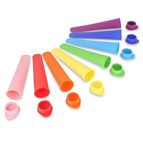 Vlunt 10 X Ice Pop Maker Eis Pop Formen eis am Stiel form-Set eis am stiel-Fuellen mit Saft, Soda, Joghurt-BPA frei 100{732ced6d65da7a2487608948f19c39447410daca0568cccb7e4f3e62706988b0} Lebensmittelqualitaet Silikon