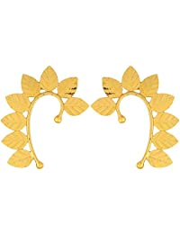 JFL - Ethnic & Exquisite One Gram Gold Plated Leaf Shape Designer Earcuff for Women & Girls.