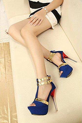 2015 new Open Toe High Heels Women Pumps Brand New Design shoes women sandals Blau