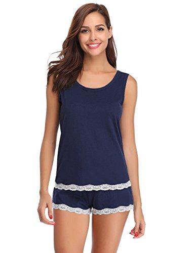 Pyjama Schlaf Shorts (Hawiton Damen Kurz Pyjama Schlafanzug Baumwolle Sommer Nachtwäsche Hausanzug mit Spitze Tanktop Shorts Blau L)