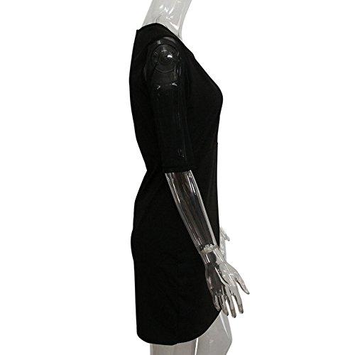 Hombaby Robe de soirée cocktail Femme D'été Robe de Soiree Élégant Robe de Soirée Bustier Dentelle Cocktail Manches Longues Femme,Fleurs Robe de Fete Col Rond Vintage Femme Sexy Noir
