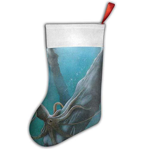 yiyuanyuantu Giant Squid Fights Against Shark Christmas Stocking,Craft Holiday Hanging Socks Ornaments Decorations Santa Stockings 50CM