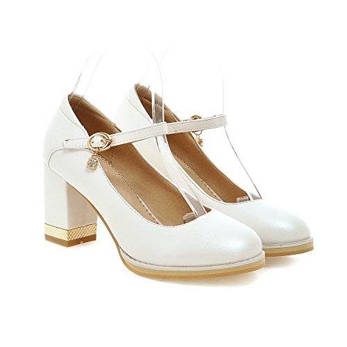 VogueZone009 Femme Matière Souple Rond Boucle Couleur Unie Chaussures Légeres Blanc
