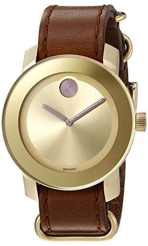 MOVADO UNISEX LEATHER BAND GOLD TONE STEEL CASE SWISS QUARTZ WATCH 3600363