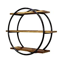 Hong xia shop Retro Industrial Style Round Display Stand,Living Room Creative Wall Mounted Wrought Iron racks retro creative solid wood shelves clapboard wall decoration round display stand